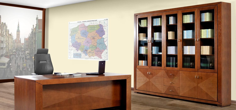 Biblioteczka witryna biurko zestaw mebli Cube do biura