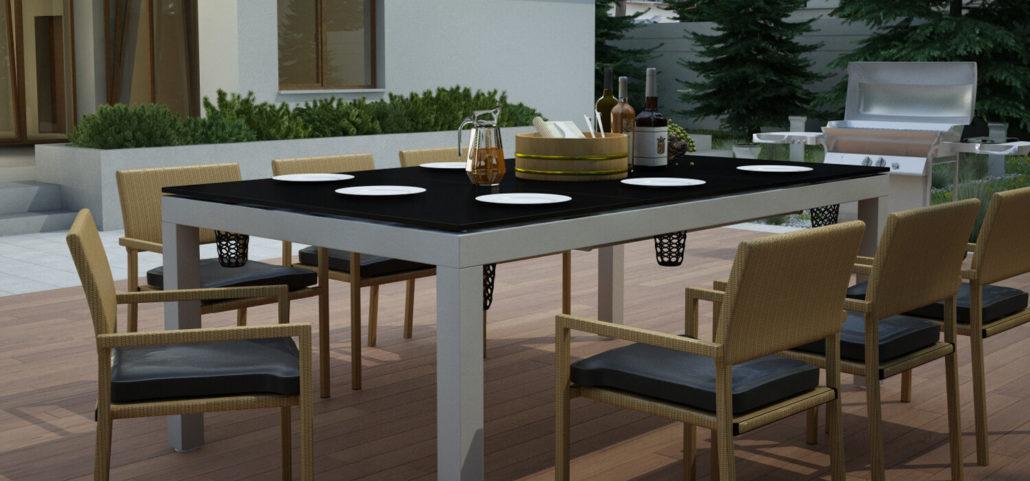 Wielofukncyjny stół bilardowy z blatem jako stół na taras