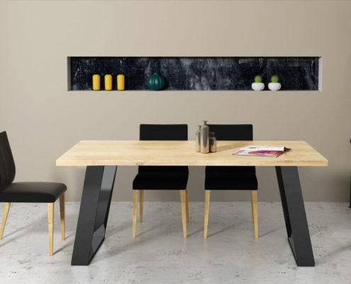 nowoczesny stół na czarnej metalowej nodze