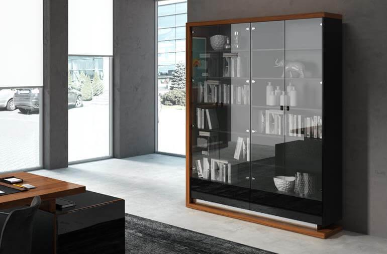 Biblioteka 160 – PORTO – orzech amerykański + czarny połysk – Lissy