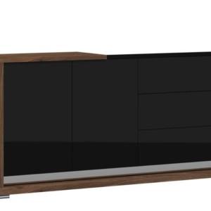 Komoda 205 – PORTO – orzech amerykański + czarny połysk – Lissy