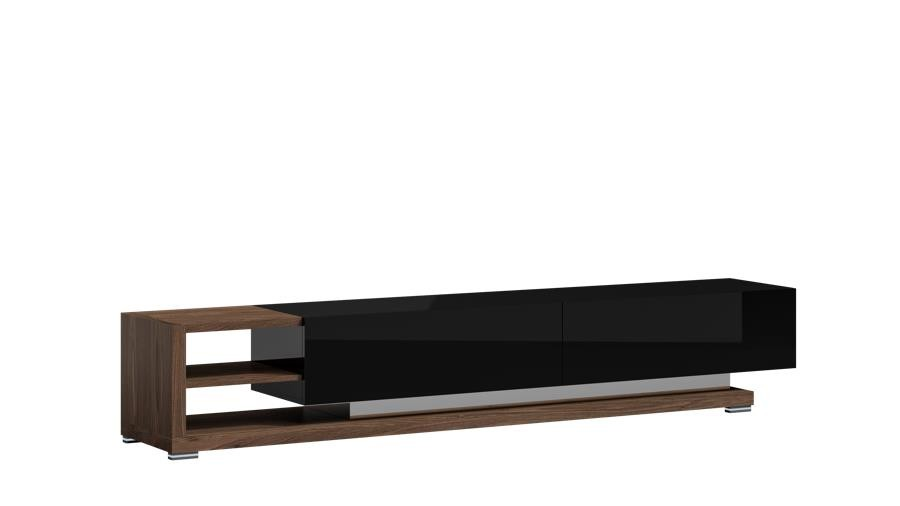 Szafka RTV 250 cm PORTO orzech amerykański + czarny połysk – Lissy