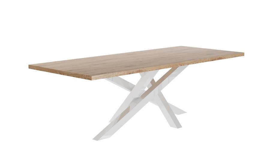 Stół STIX 200 cm – biały postument + blat dąb naturalny