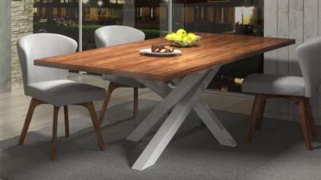 Stół STIX 200 cm – biały postument + blat orzech amerykański