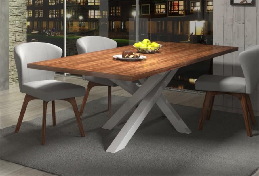 Stół STIX 240 cm – biały postument + blat orzech amerykański