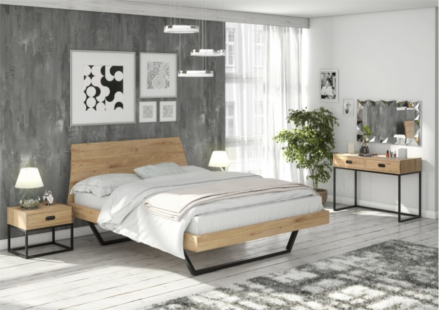 Łóżko 160×200 – LUGO dąb sękaty