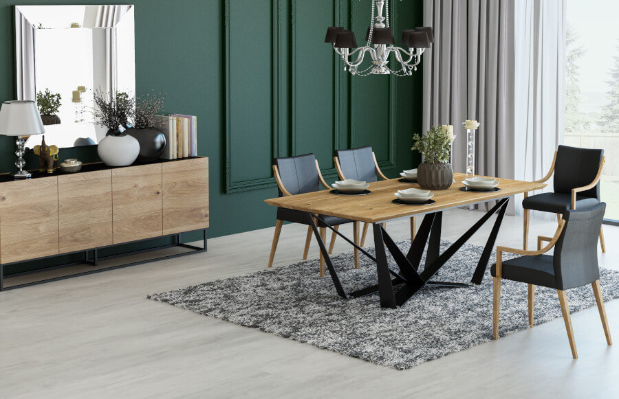 Stół metalowy z drewnianym blatem